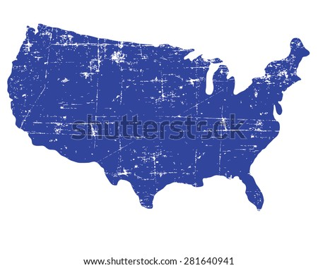 Blue USA map set - stock vector