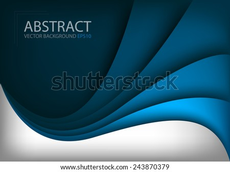 Blue vector background and silver curve line on dark space shadow overlap layer modern texture pattern for text and message website design - stock vector