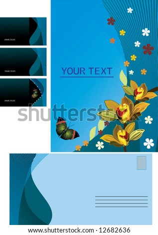 Blue vector background, business card, letter - stock vector