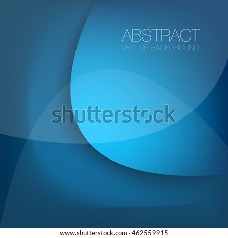Blue vector background curve label element with space for text and message design
