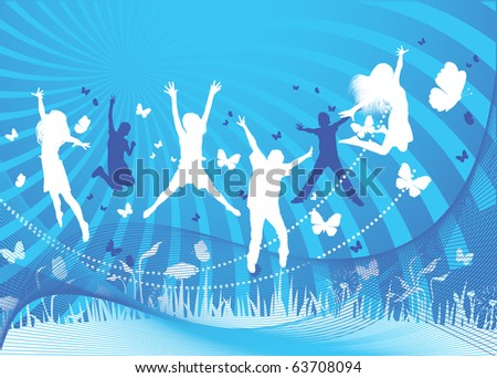 Blue vector background of kids jumping - stock vector