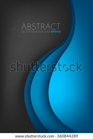 Blue vector background on black space with circle and curve line element overlap layer paper for text and message artwork design - stock vector