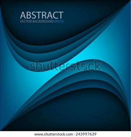 Blue vector background with blue curve bright line overlap layer space for text and message modern artwork design - stock vector