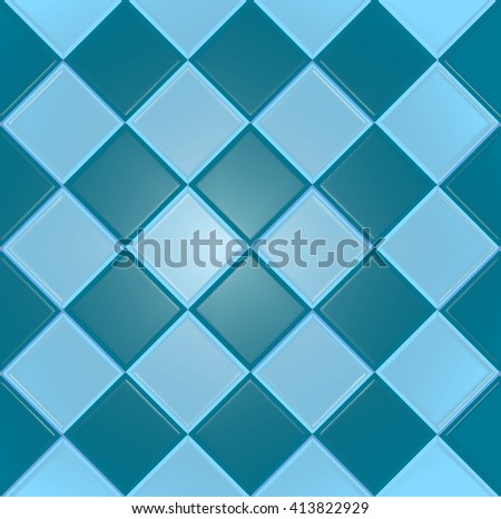 Blue vector background with texture tiles - stock vector