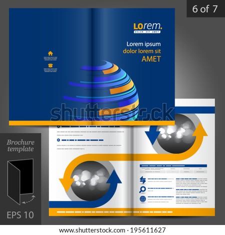 Blue Vector Brochure Template Design Digital Stock Vector 195611627