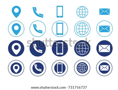 Blue vector business card contact information stock vector 731756737 blue vector business card contact information icons colourmoves