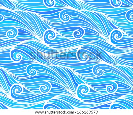 Blue vector curly waves - stock vector