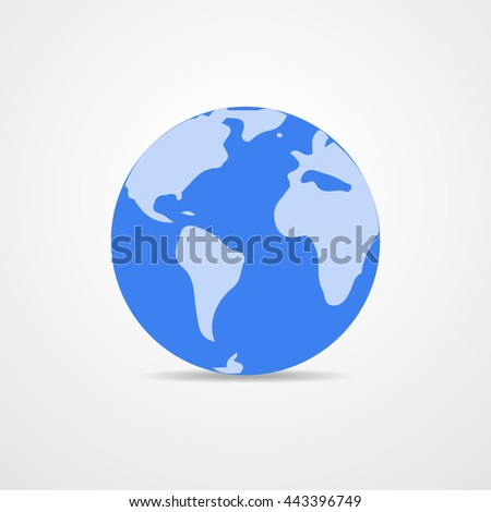 Blue vector Earth globe isolated on white. Light - blue simple scheme of the globe. Globe earth Icon - vector illustration. - stock vector
