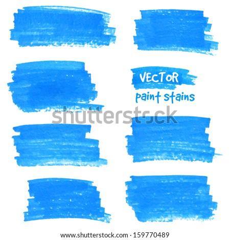 Blue vector felt tip pen stains - stock vector