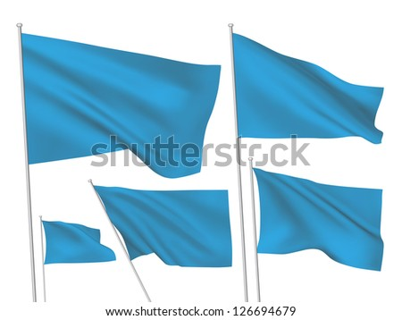 Blue vector flags. A set of 5 wavy 3D flags created using gradient meshes - stock vector