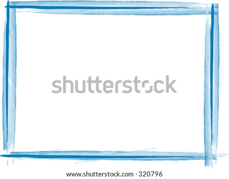 Blue vector frame opens up in photoshop on a transparent layer - stock vector