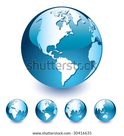 Blue Vector Globe [set 4] - stock vector