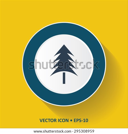Blue vector Icon of Christmas Tree on Yellow Color Background with Long Shadow. Eps.10. - stock vector