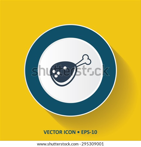 Blue vector Icon of Meat on Yellow Color Background with Long Shadow. Eps.10. - stock vector