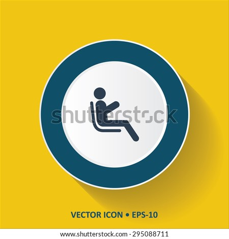 Blue vector Icon of  Passenger. Man at airplane on Yellow Color Background with Long Shadow. Eps.10. - stock vector