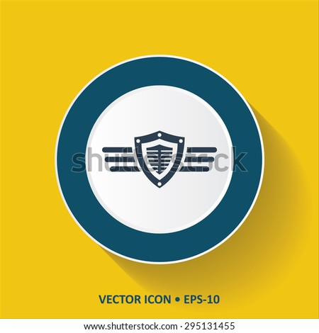 Blue vector Icon of Protection Shield With Wings on Yellow Color Background with Long Shadow. Eps.10. - stock vector