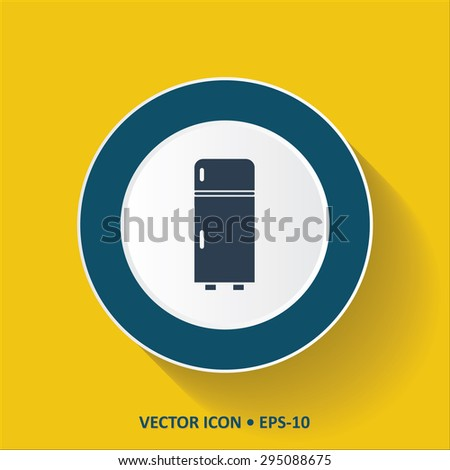 Blue vector Icon of Refrigerator on Yellow Color Background with Long Shadow. Eps.10. - stock vector