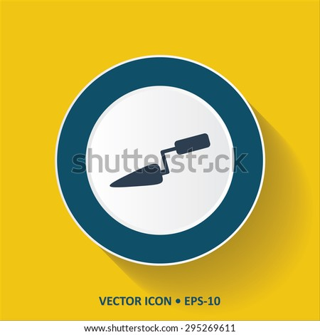 Blue vector Icon of Trowel on Yellow Color Background with Long Shadow. Eps.10. - stock vector