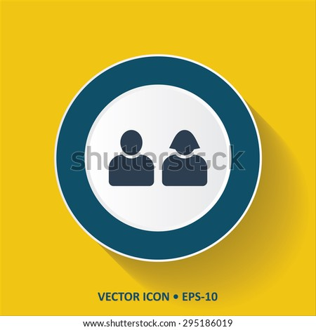 Blue vector Icon of Users on Yellow Color Background with Long Shadow. Eps.10. - stock vector
