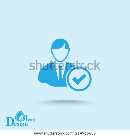 Blue vector icon on a blue background - stock vector