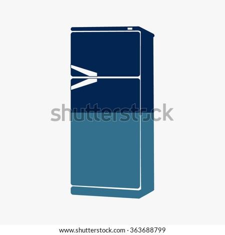 Blue vector icons of refrigerator  - stock vector