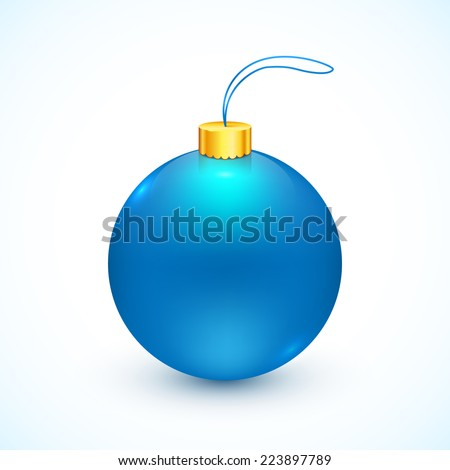 Blue vector isolated Christmas ball