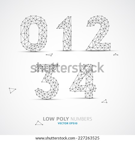 Blue Vector low poly (wired) numbers font with shadow - stock vector