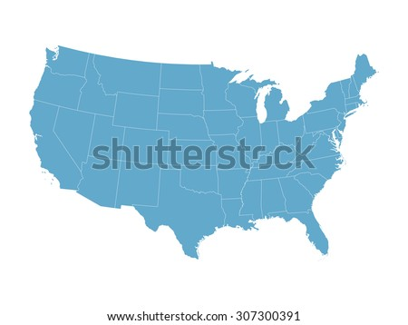 blue vector map of United States - stock vector