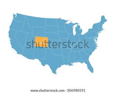 Map Usa Indication State Colorado Denver Stock Vector - Denver colorado in us map
