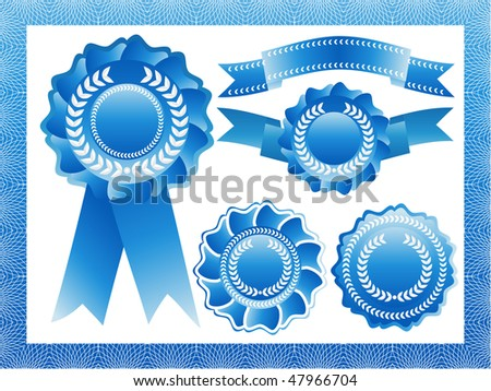 blue vector rosettes and ribbons - stock vector