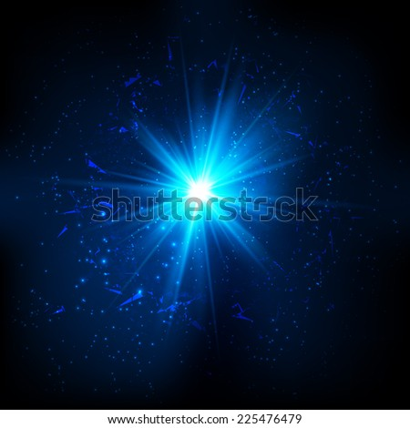 Blue vector shining cosmic flash