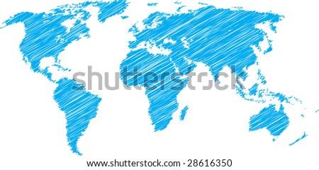 Blue vector sketch of world map - stock vector