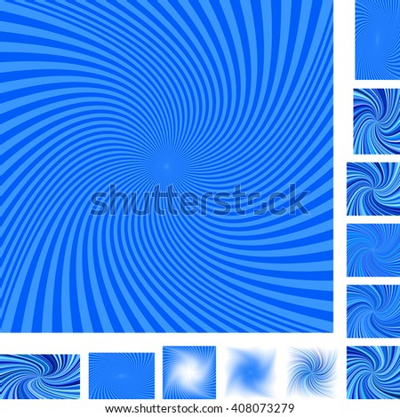 Blue vector spiral design background set. Different color, gradient, screen, paper size versions. - stock vector