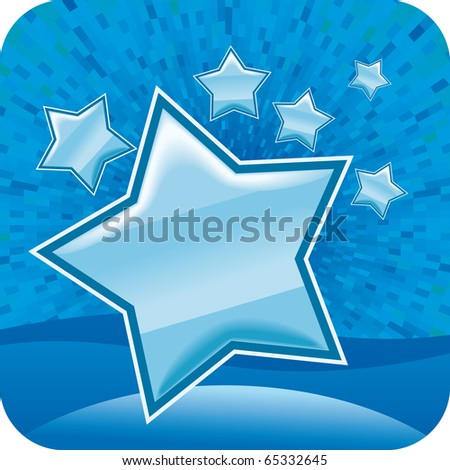Blue vector stars with shine background