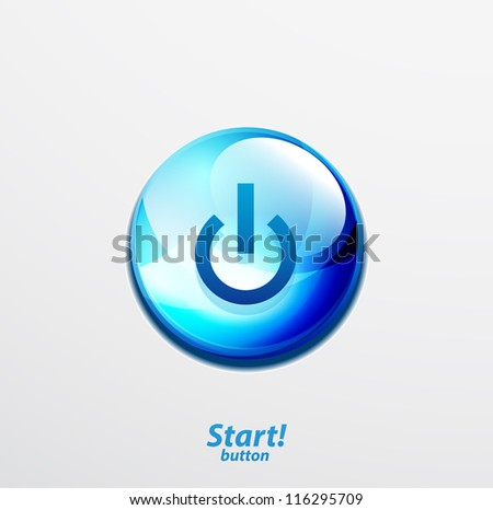 Blue vector start button - stock vector