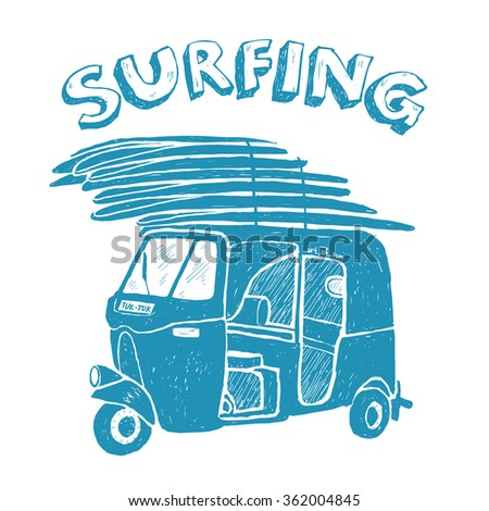 Blue vector tuk-tuk with surfboards, grunge vintage logo - stock vector