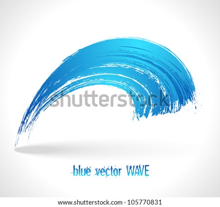 Blue vector wave. Abstract circle background. Art forms. - stock vector