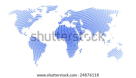 blue vector world map spirally dotted