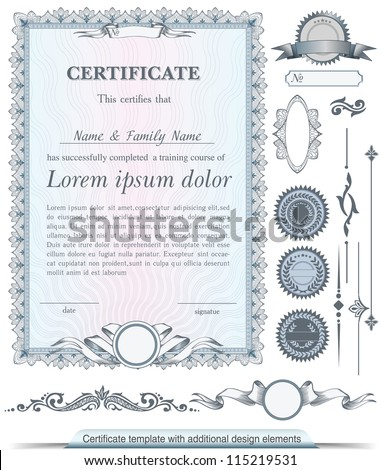 Blue vertical certificate template with additional design elements - stock vector