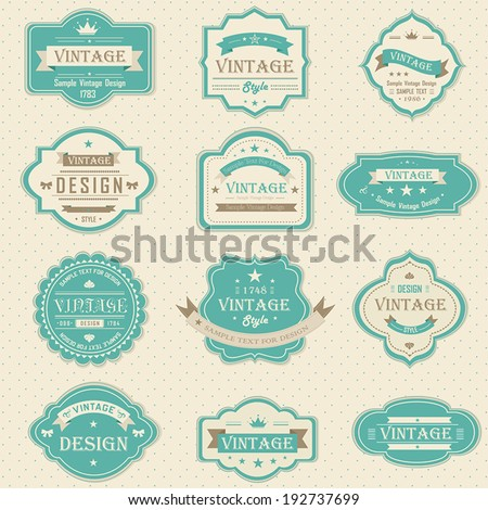 Blue vintage and retro badges label tag background design in pastel color with sample text for marketing retail and brand promotion, create by vector