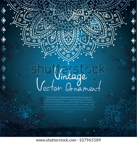 Blue Vintage background with  Indian Ornament - stock vector