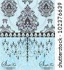 blue vintage invitation floral card - stock vector