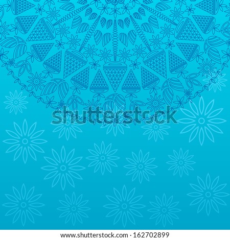 Blue Vintage Ornament Card with Round Decor on Floral Pattern. Vector Invitation