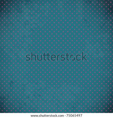 Blue vintage polka dot texture - stock vector