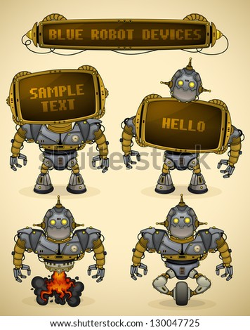 Blue vintage robot devices - stock vector