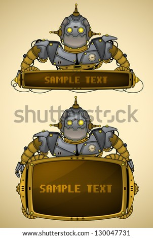 Blue vintage robot with display - stock vector
