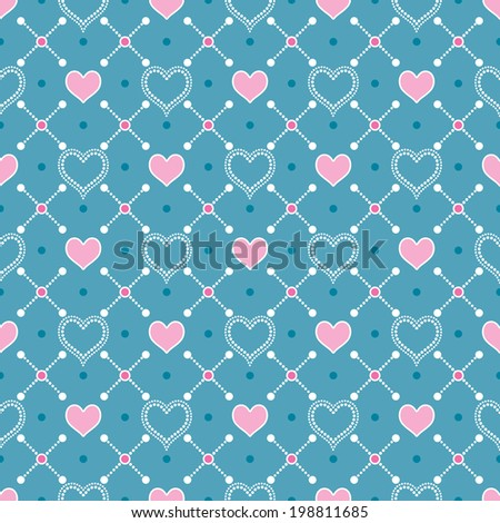 Blue vintage seamless background on mesh of white polka dots and pink hearts - stock vector
