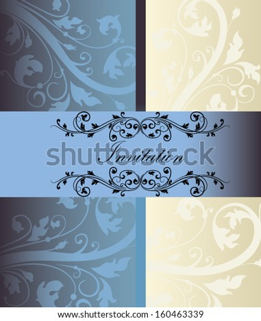 blue vintage swirly floral invitation card