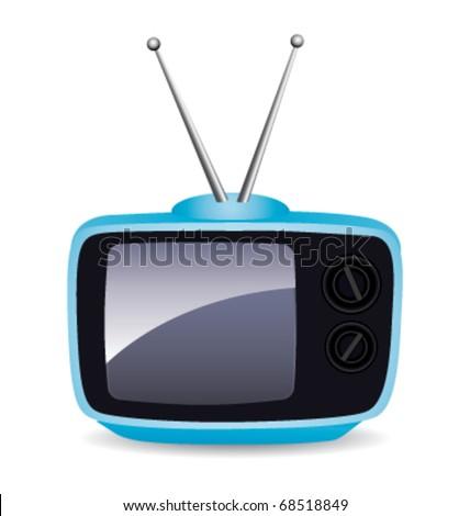 Blue vintage television. Vector icon. - stock vector