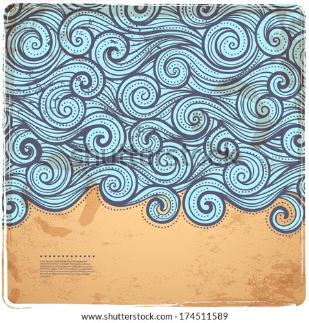 Blue Vintage Waves illustration can be used as a greeting card - stock vector